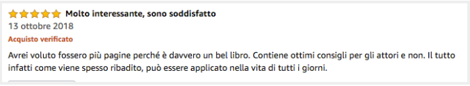 recensione amazon Arte e scienza dell'attore di Gianluca Testa