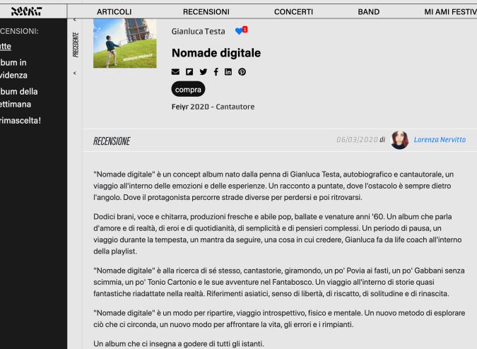 ROCKIT recensione di NOMADE DIGITALE di Gianluca Testa